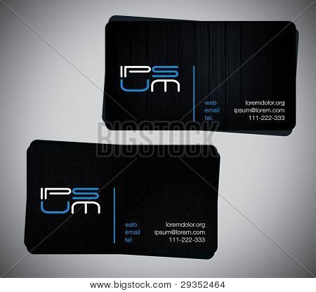 two original business cards, carbon and wooden one.
