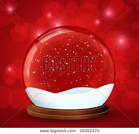 christmas snow globe with glittering lights around