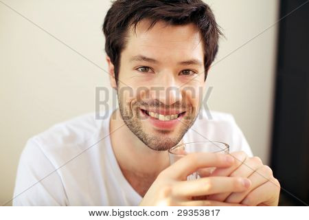 Handsome Smiling Man With Drink