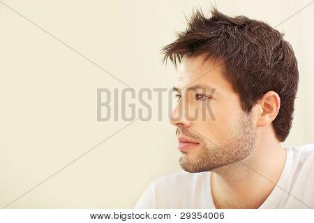 Serious Pensive Man Profile