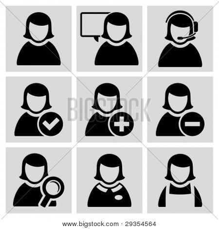 Female user avatars icons set.