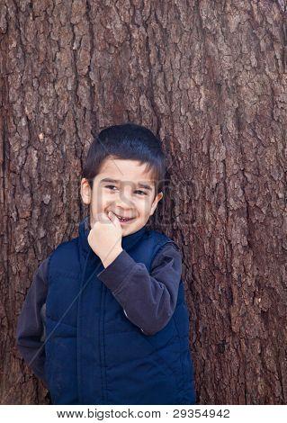 Shy Smiling Little Boy