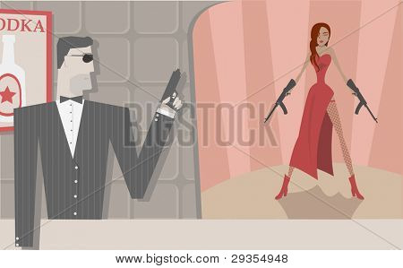 Cool secret agents, man and woman