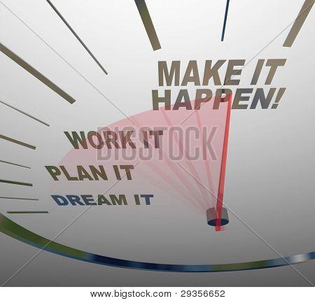 Un fondo blanco velocímetro con palabras que representan los pasos para lograr el éxito - sueño, Plan, Wor