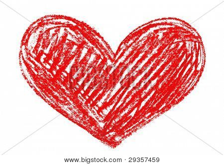 red heart painted in watercolor on white background