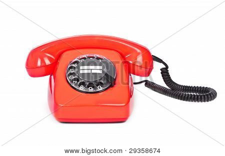 Red Bakelite Dial Phone