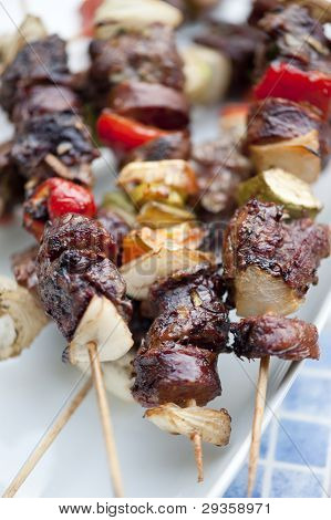 Served Cooked Brochette
