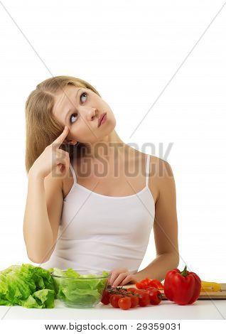 Happy Girl Preparing Vegetarian Food, Vegetables In The Kitchen
