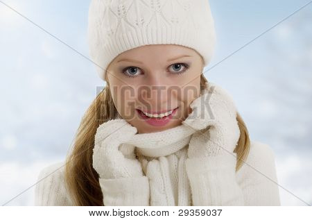 Winter Portrait Of A Beautiful Happy Girl
