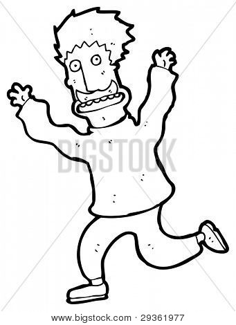 man running away cartoon (raster version)