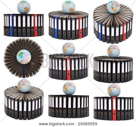 Nine Big Black Folders Located On A Circle