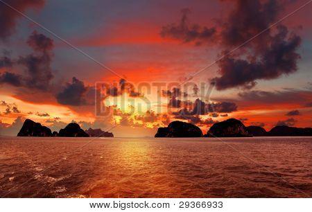 Beautiful decline on the sea, Thailand