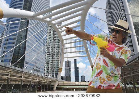 Happy Elderly Traveler Asian Man