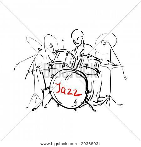 Drummer. Sketch. Vector illustration.