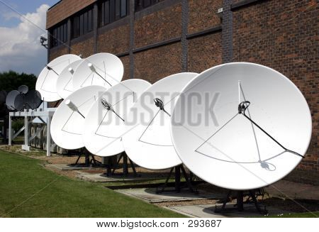 Row Of Satellite Dishes