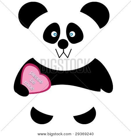 Vector Valentines Day Heart Panda Bear