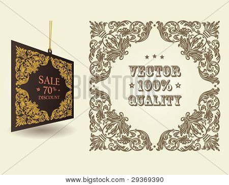 Vector vintage ornate page decor elements: frames, ornaments, tag and patterns