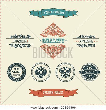 Vector vintage ornate decor elements. frames ornaments ribbon stamps