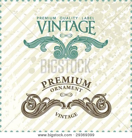 Two vintage styled premium quality ornate labels vector grunge style
