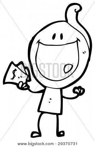 glücklich Zahltag Mann Cartoon (Raster-Version)