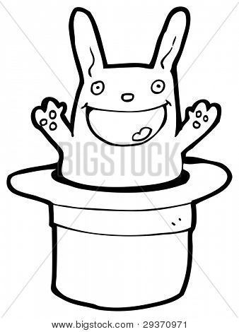 rabbit in magicians hat cartoon (raster version)