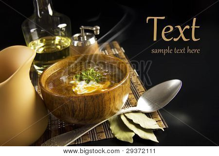 Soup In A Wooden Bowl With