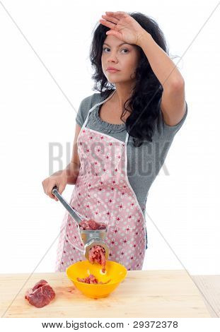 Meat Grinders  .beautiful Housewife Cutting Meat.