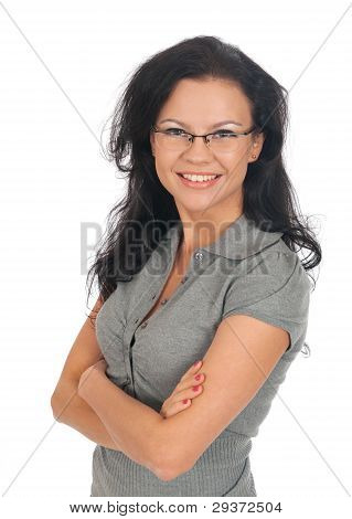 Woman Posing In Business Suit And Glasses.
