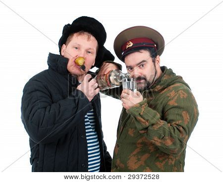 Russian soldier drinking vodka