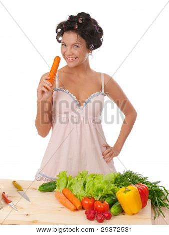 Housewife With Vegetables .