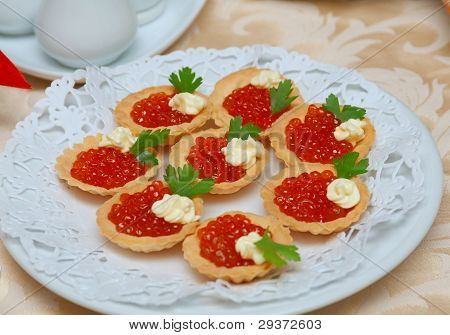 Tartlet With Red Caviar   .