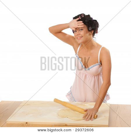 Housewife Mix Dough On The Wooden Board