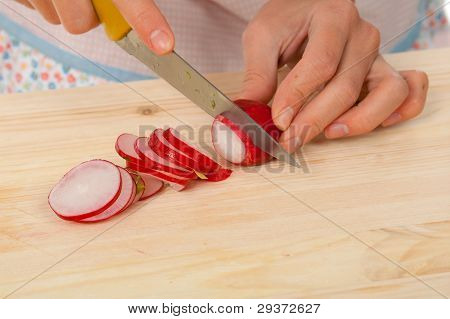 Housewife Preparing  Small Radish .