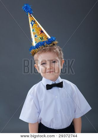 Adorable boy celebrating the birthday