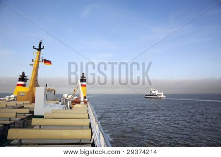 Ferry boats to the North Frisian islands passing each other