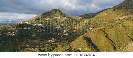 Dawn panorama of hills near Taormina in Sicily, Italy