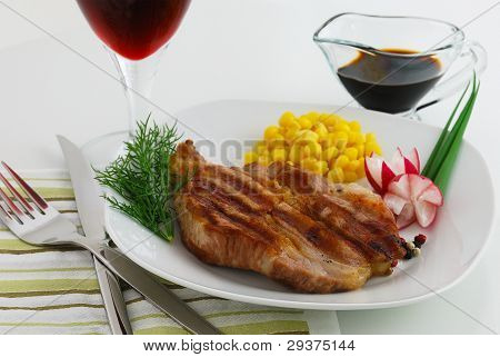 Dinner Plate With Steak And Vegetables