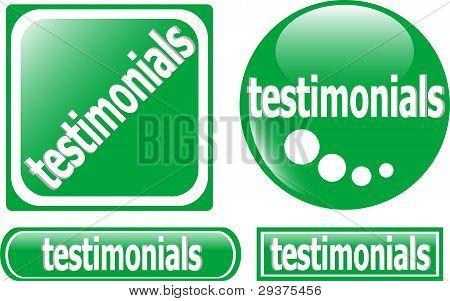Testimonials button green set