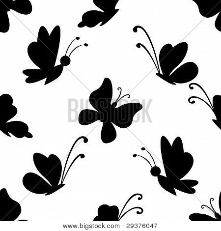Background, butterflies silhouettes