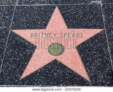 HOLLYWOOD - SEPTEMBER 4: Britney  Spears's star on Hollywood Walk of Fame on September 4, 2011 in Hollywood, California. This star is located on Hollywood Blvd. and is one of 2400 celebrity stars.