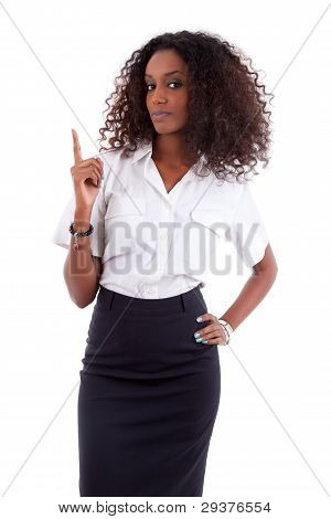 Young African American Business Woman Showing Something