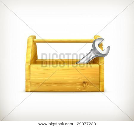 Wrench and toolbox, vector