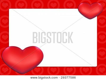 Valentine Card with red hearts