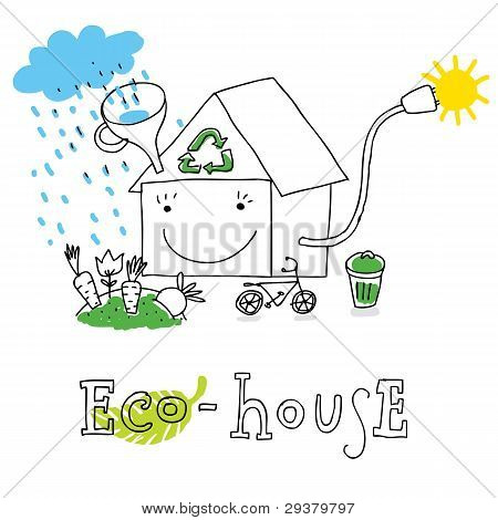 Eco house, vector drawing Eco_house.eps