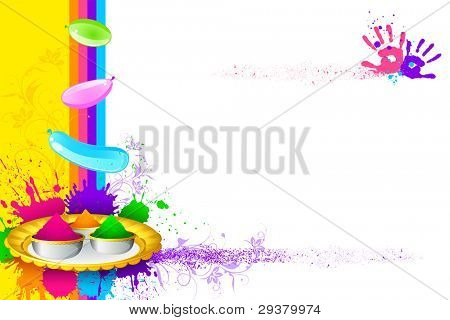illustration of holi thali with colorful gulal for holi background
