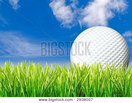 Large Golf Ball, Grass & Sky