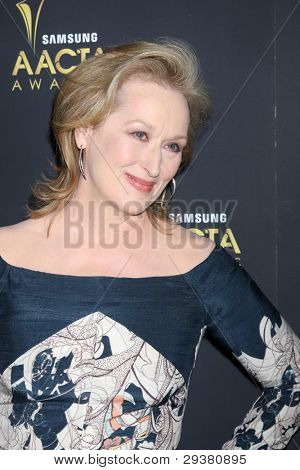 LOS ANGELES - JAN 27:  Meryl Streep arrives at the AUSTRALIAN ACADEMY INTERNATIONAL AWARDS at Soho House on January 27, 2012 in West Hollywood, CA