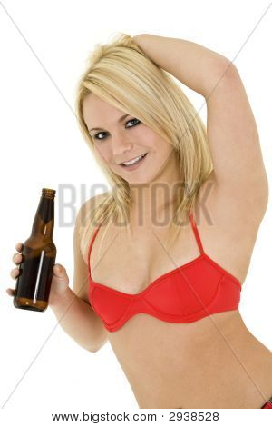Blond Girl With Beer