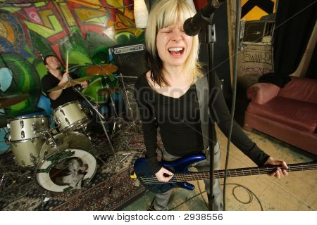 Female Bass Player Screaming
