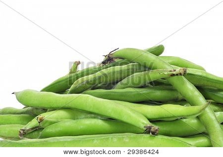 a pile of broad bean pods on a white background